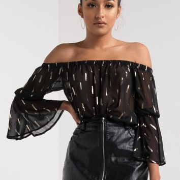 AKIRA Sheer Off The Shoulder Frill Sleeve Metallic Print Top in Black
