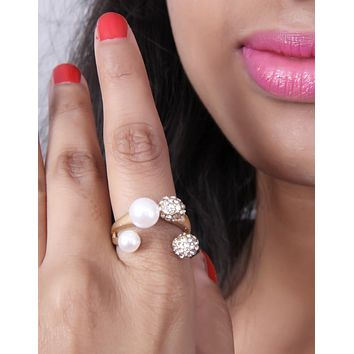 Adjustable Modern Classic Rose Gold-Tone, Pave Crystal and White Pearl Open Ring