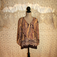 Bohemian Blouse Hippie Boho Blouse Brown Print Tunic Blouse Indian Bohemian Clothing Hippie Boho Clothing XL 1X 2X Womens Plus Size Clothing