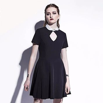 Gothic Wednesday Addams Mini Dress with Back Pentagram