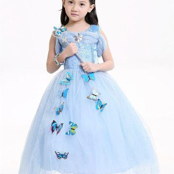 PEAPON Kids Cinderella Dresses Girls Children Cloth Princess party Dresses only Cosplay child Costume Halloween Carnival Christmas