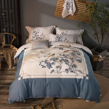 100% Cotton Soft Bed linen set Peacock Print Chinese Bedding sets King Queen Size 4Pcs Duvet cover Floral Bohemia Bed sheet set