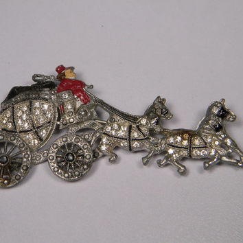 Storewide Sale, See Coupon in Banner, Vintage Mechanical Brooch, Horse and Carriage, 30s, Book Piece