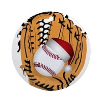 CHRISTMAS BASEBALL ROUND ORNAMENT