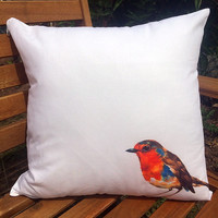 Hand Painted Print Robin Cushion Cover