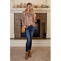 Mind Your Style Leopard Print Blouse : Wine/Nude