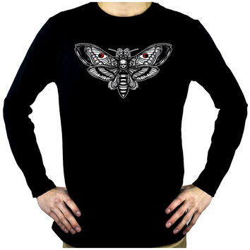 Moth with Death Skull Men's Long Sleeve T-Shirt Gothic Clothing Silence of the Lambs