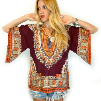 Vtg 70s Eastern BOHO Bell Sleeve TUNIC Blouse Women's Hippie Top