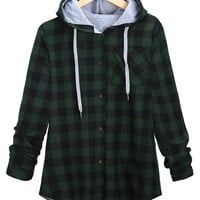 Casual Plaid Button-Up Drawstring Hoodie