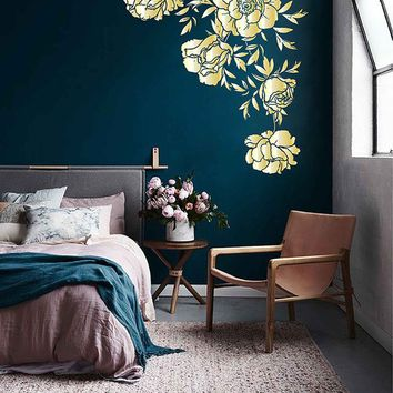 Peony Wall Decal Peony Flowers Wall Sticker Vintage Peony Wall Stickers gold Peony Wall Decals Wall Decor Gold Decal ik3537