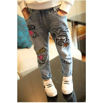 Sardiff Brand 2018 Jeans Kids Pants Cartoon Pattern Design Children Heart Shape Letter Mouse Trousers Kids Dark Blue Pants