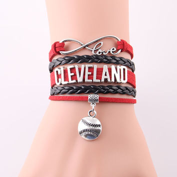 Infinity Love Cleveland bracelet Indians MLB sport baseball team charm Bracelets & Bangles for women men jewelry Drop Shipping