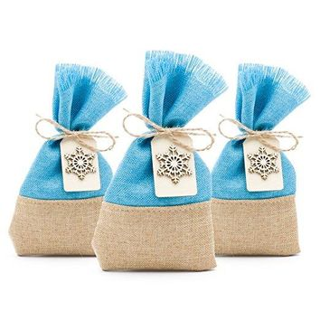 25 Christmas Favor Gift Bags Burlap and Blue with Snowflakes, 3.5 x 6 Inch