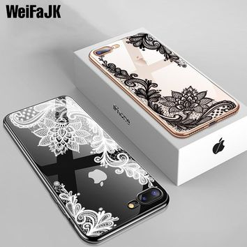 WeiFaJK Original Silicone Phone Case For iPhone 7 6 6s Plus Cases Lace Flower Soft TPU Back Cover For iPhone Case 7 8 Plus X 5s