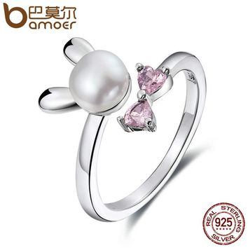 BAMOER Genuine 925 Sterling Silver Rabbit Bunny Women Finger Ring, Freshwater Pearl & Pink Crystal Sterling Jewelry Gift SCR078
