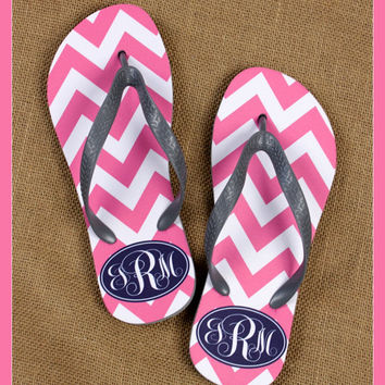 Monogrammed Flip Flops, Teacher Gift, Graduation Gift, Personalized Flip Flops, Bridal Party Gifts, Flip Flops, Sorority Gifts Anchors