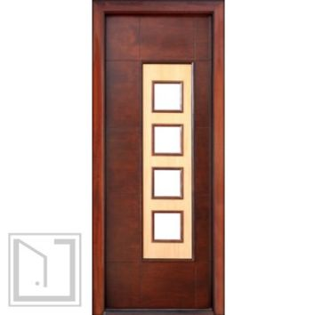Prehung Low-E Single Door, Wind-load Rated, Contemporary Square Design