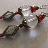 Red Crystal, Glass, and Silver Earrings