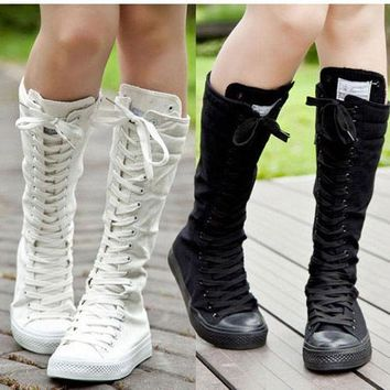 PUNK EMO Girls Shoes Canvas Boots Zip Lace Up Knee Chic Vogue High Sneaker Pumps