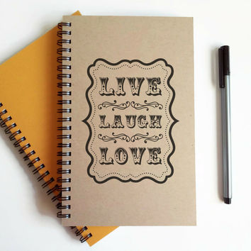 Writing journal, spiral notebook, cute diary, small sketchbook, scrapbook, memory book, 5x8 handmade journal - Live Laugh Love, quote