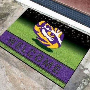 LSU Tigers Door Mat 18x30 Welcome Crumb Rubber