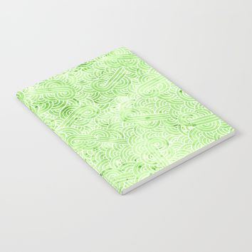 Greeney and white swirls doodles Notebook by Savousepate