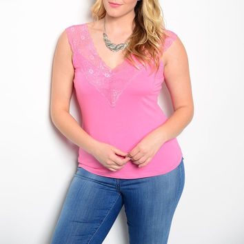 Plus Size V Lined Lace Strap Tank Top in Pink