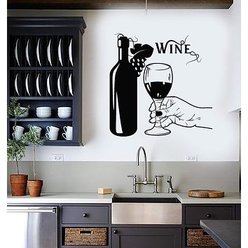 Vinyl Wall Decal Wine Bottle Hand Glass Grapes Restaurant Alcohol Stickers Mural Unique Gift (ig5209)