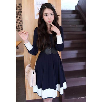 Deep Long Sleeve Midi Dress with Waistband
