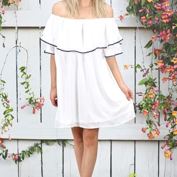 Sail Away with Me Off Shoulder Dress {Off White}