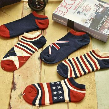 MDIGON1O Day First Unisex 5pcs Striped Stars Socks