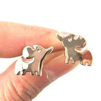 Simple Elephant Shaped Stud Earrings in Rose Gold   DOTOLY