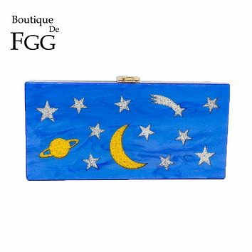 Stars & Moon Pattern Women Blue Acrylic Box Clutch Evening Purse Ladies Casual Day Clutches Handbag and Purse Bridal Wedding Bag