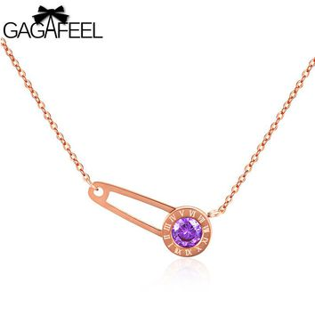 GAGAFEEL Pin Pendant Necklace Women Cute Jewelry With Black/Purple/Red Crystal Roman Numerals Needle Stainless Steel Link Chain