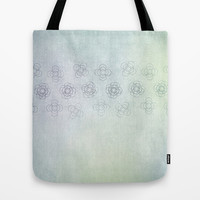 Circles within Circles, Gentle Floral banner on  a textured green blue background Tote Bag by RunnyCustard Illustration