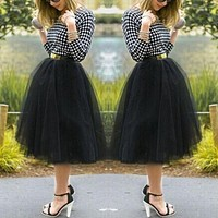 *online exclusive* tutu tulle  knee length fan skirt