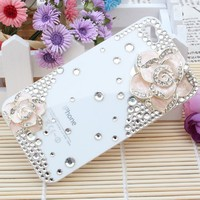 Smile Case 3D Crystalized Rhinestone Bling Full Cover Case for AT&T Verizon iPhone 4 4G Made with Crystal (4-3D Clear Pink Flower)