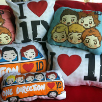 One Direction Throw Pillow Cover 1D Shaped Logo by PopEyeCon
