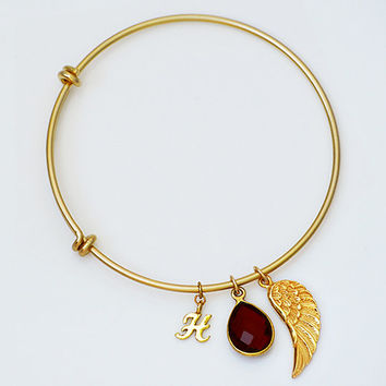 Personalized Angel Wing Natural Birthstone charm adjustable expandable gold or silver bangle bracelet - letter, Remembrance memory necklace