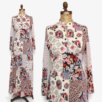 Vintage 70s Patchwork Ladies Print DRESS / 1970s Novelty Floral 20s Babes Flared Maxi