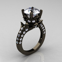 Classic French 14K Black Gold 3.0 Carat Cubic Zirconia Diamond Solitaire Wedding Ring R401-14KBGDCZ