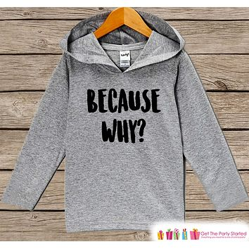 Funny Kids Shirt - Because Why? Hoodie - Boys or Girls Novelty Shirt - Grey Pullover - Gift Idea for Baby, Infant, Kids, Toddler