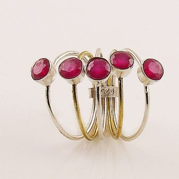 Ruby Sterling Silver Two Tone Stack Ring