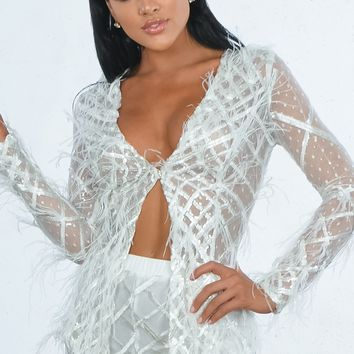 Indie XO Feather Fantasy White Sheer Mesh Geometric Pattern Long Sleeve Sequin Feathers Romper Shorts Two Piece Set