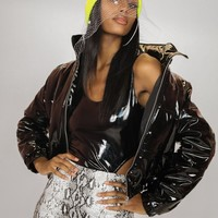 Grease Lightening Glossy Vinly Bomber Jacket