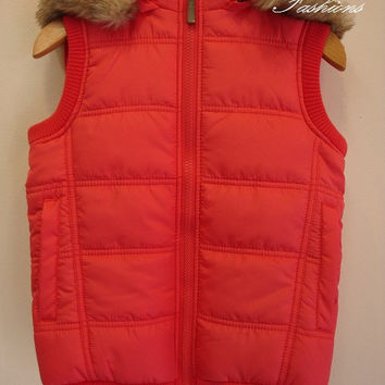 Red Kids Hooded Puffer Vest