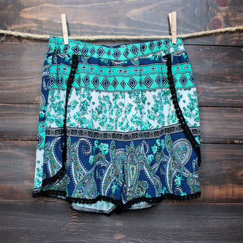 high waisted ethnic print shorts