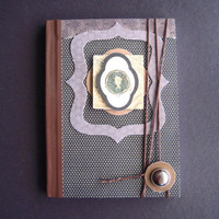 Vintage Cameo Pocket-Size Jotting Journal paper sketch writing steampunk old-fashioned button tie wrap tie brown cream sparkle glitter
