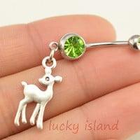 belly ring,little deer belly button rings, bellybutton jewelry,deer navel ring,body piercing,friendship bellyring