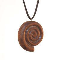 Shell. Helix. Snail. Wooden pendant. Rear view mirror charm. Keychain trinket. Unique Wood Jewelry. Wood carving. Wood Craft. Cochlea